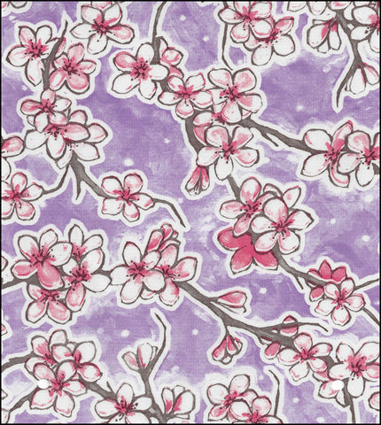 Cherry Blossom Purple Oilcloth