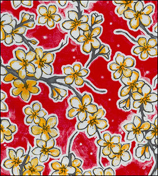 Cherry Blossom Red Oilcloth