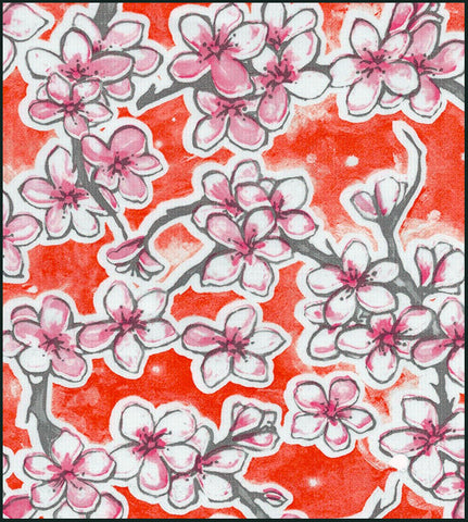 Cherry Blossom Orange Oilcloth