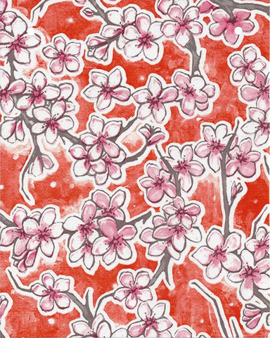 Cherry Blossom Orange Oilcloth Roll
