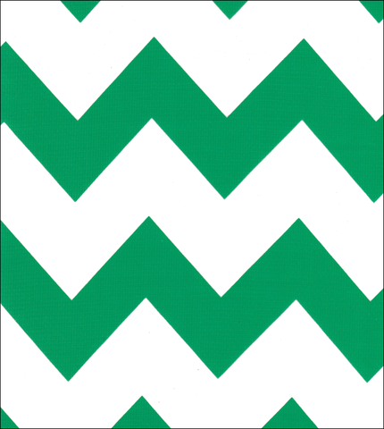 Green Chevron Oilcloth Fabric