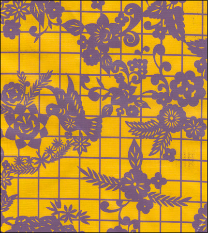 Day of the Dead Purple on Yellow Oilcloth Fabric