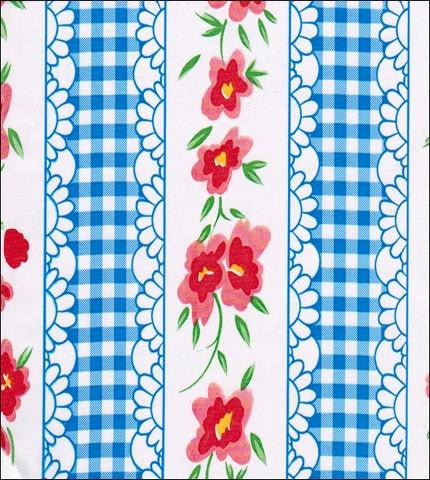 Flowers and Gingham Blue Oilcloth Fabric Roll