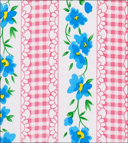 Flowers and Gingham Pink Oilcloth Fabric