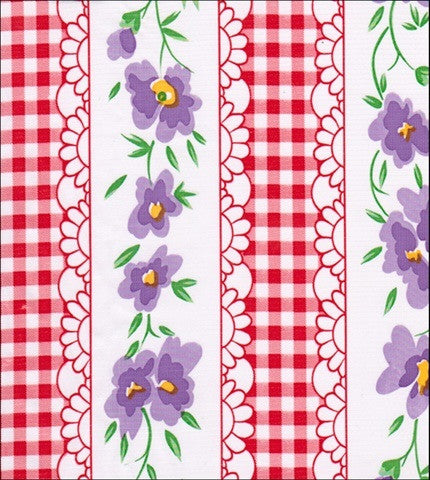Flowers and Red Gingham Oilcloth Fabric