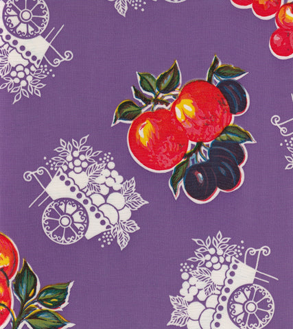 Fruit Cart Purple Oilcloth By The Yard
