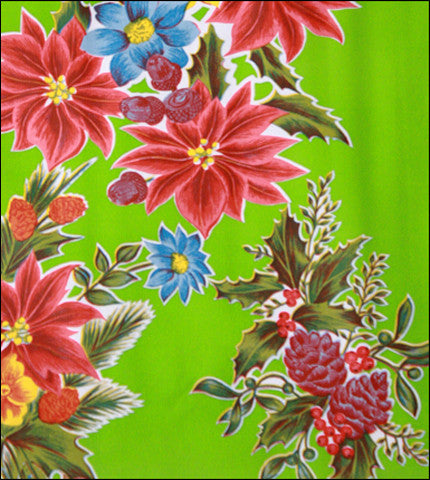 Christmas Poinsettia Lime Oilcloth