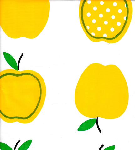 Apples and Dots Oilcloth Fabric in Yellow