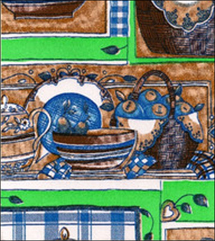 Kitchen Blue and Lime Oilcloth Fabric