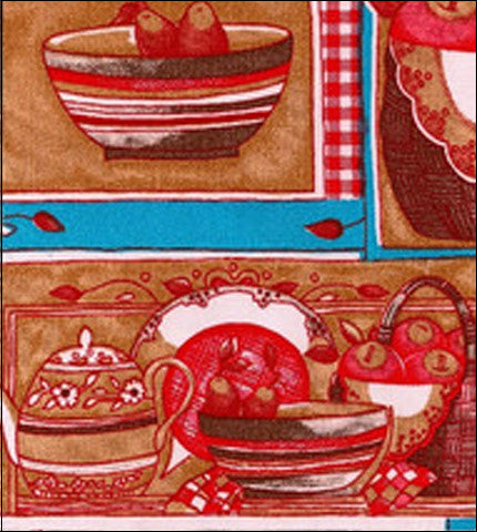 Kitchen Red and Blue Oilcloth Fabric