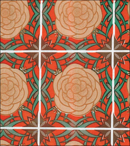 Mosaic Orange on Brown Oilcloth Tablecloths