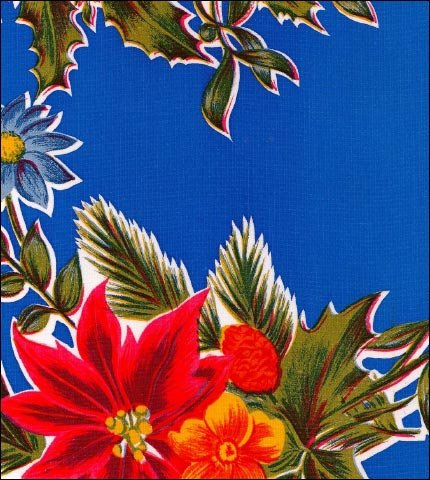 Christmas Poinsettia Blue Oilcloth