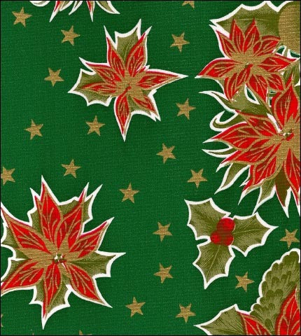 Christmas Stars Green Oilcloth