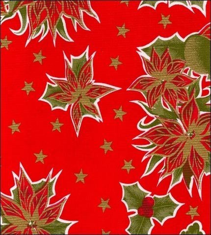 Christmas Stars on Red Oilcloth