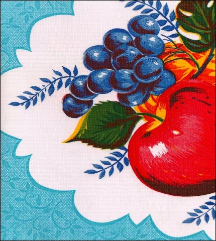 Country Apple Light Blue Oilcloth