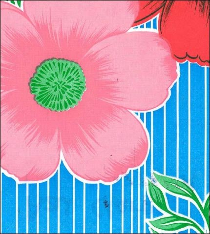 Big Flowers and Stripes Light Blue Oilcloth