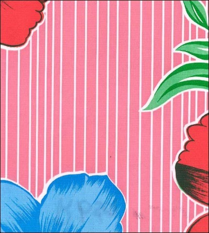 Big Flowers and Stripes Pink Oilcloth