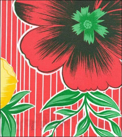 Big Flowers and Stripes Red Oilcloth