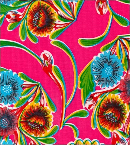 "55"" Wide Bloom Pink Oilcloth"
