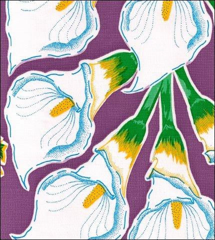 Calla Lily Purple Oilcloth Roll