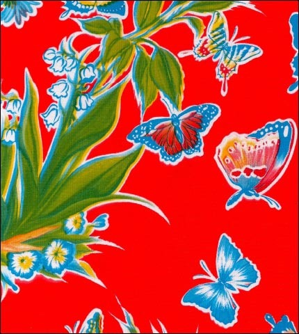 Edgars Butterfly Red Oilcloth By The Yard