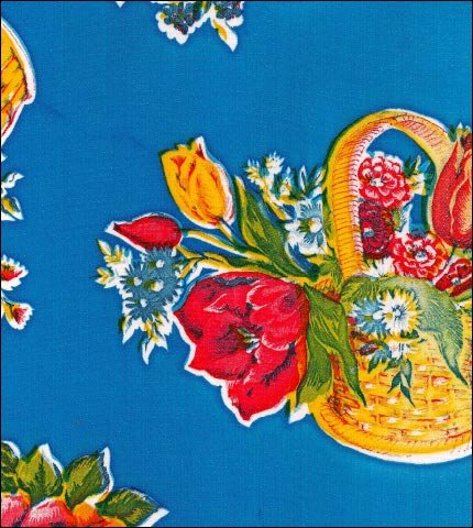 Flower Basket Blue Oilcloth