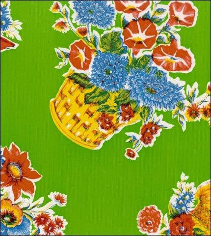 Flower Basket Lime Oilcloth Fabric Roll