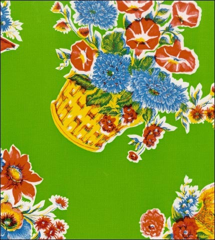 Flower Basket Lime Oilcloth Fabric