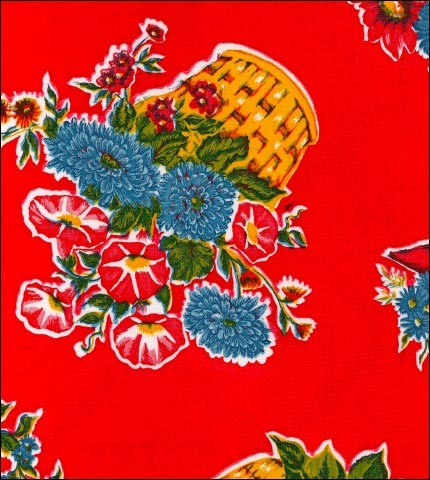 Flower Basket Red Oilcloth