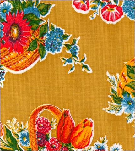 Flower Basket Tan Oilcloth Fabric
