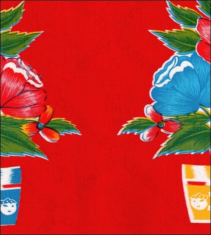 55x 90 Oval Oilcloth Tablecloth Flower Pot On Red