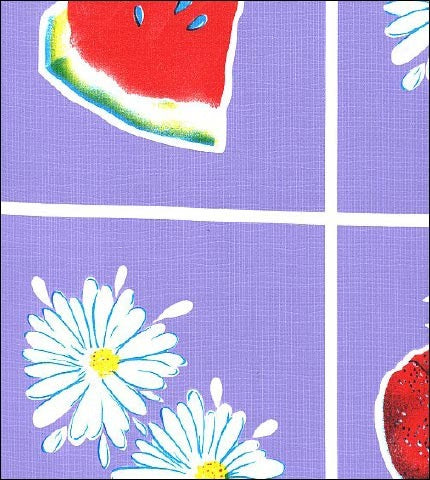 Fruit and Daisy Purple Oilcloth Fabric