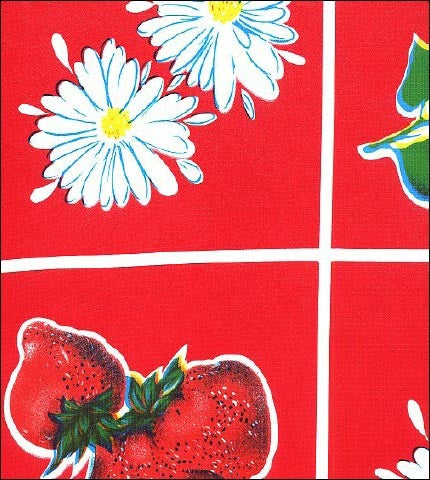 Fruit and Daisy Red Oilcloth