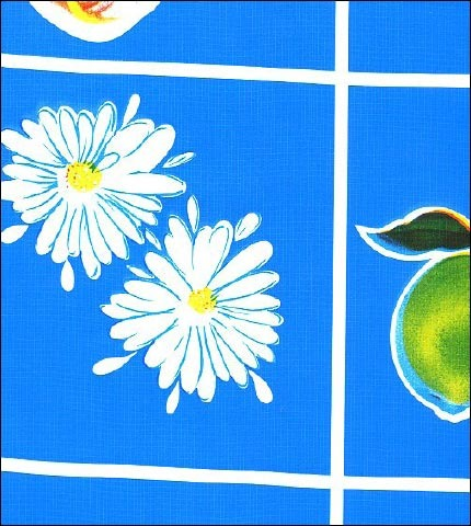 Fruit and Daisy Royal Blue Oilcloth