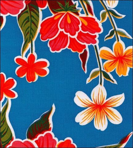 "55""x 55"" Square Hawaii Blue Oilcloth Tablecloth"