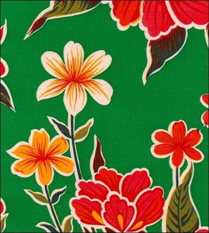 Hawaii Green Oilcloth Fabric Roll