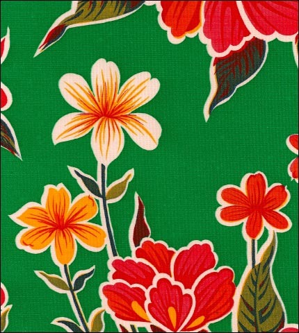Hawaii Green Oilcloth Fabric