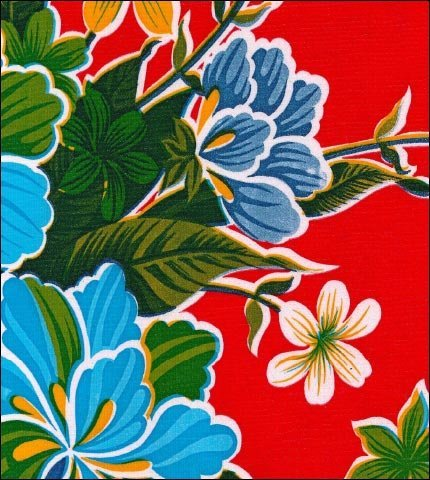 "55"" Wide Hawaii Red Oilcloth"