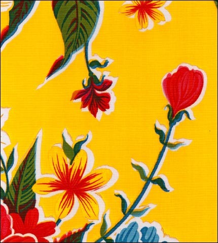 "55"" Wide Hawaii Yellow Oilcloth Fabric"