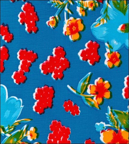 Istanbul Blue Oilcloth Fabric