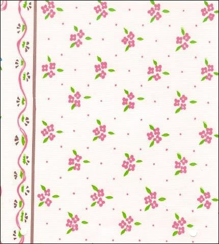 Ribbons and Flowers Pink Oilcloth Fabric Roll