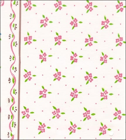 Ribbons and Flowers Pink Oilcloth Fabric