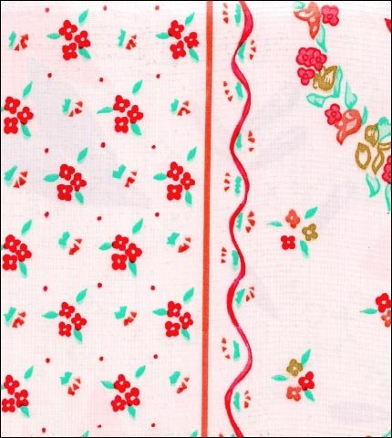 Ribbons and Flowers Red Oilcloth Fabric