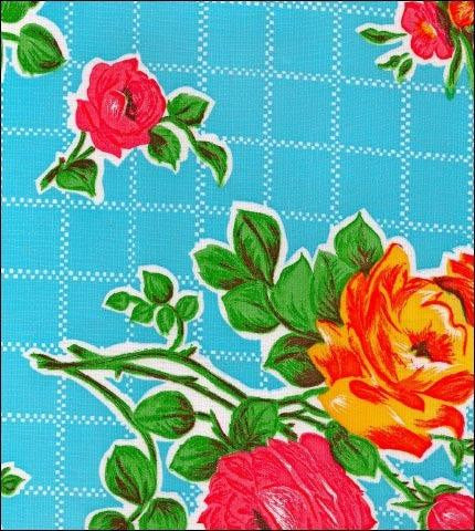 Rose and Grid Blue Oilcloth Roll