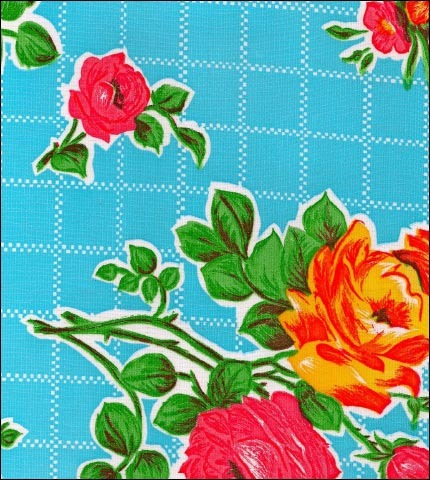 Rose and Grid Blue Oilcloth