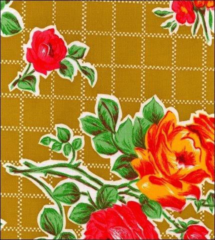 Rose and Grid Tan Oilcloth Fabric Roll