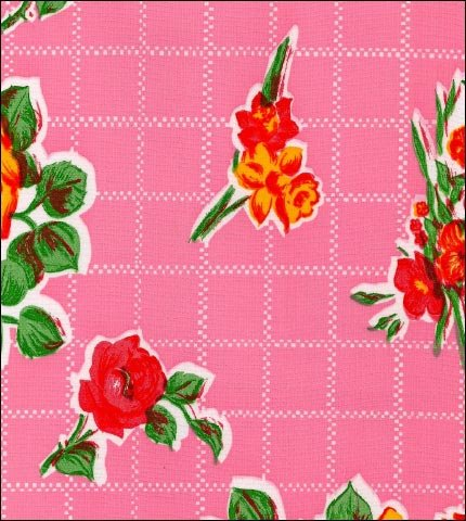 Rose and Grid Pink Oilcloth