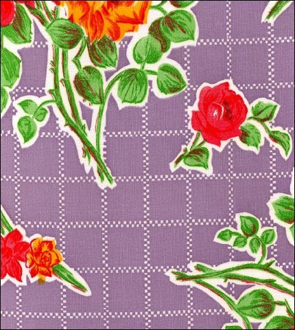 Rose and Grid Purple Oilcloth