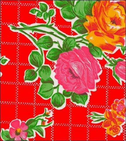 Rose and Grid Red Oilcloth Fabric Roll
