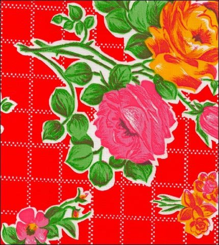 Rose and Grid Red Oilcloth Fabric